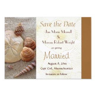 Las cáscaras del mar de la playa ahorran la invitación 12,7 x 17,8 cm