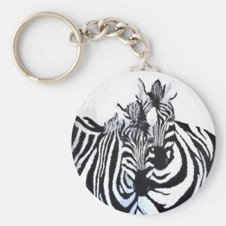 Las cebras (de acrílico por el arte de Kimberly Tu Llavero Redondo Tipo Pin