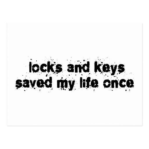 Las cerraduras y las llaves ahorraron mi vida una  tarjetas postales
