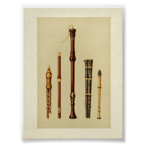 Las chirimias dobles, flauta alemana, estrían Douc Póster