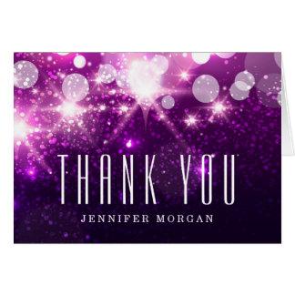 Las chispas púrpuras del brillo le agradecen tarjeta de felicitación