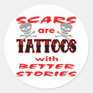 Las cicatrices son tatuajes con mejores historias pegatina redonda