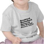 Las cinco ciudades de New York City Camisetas
