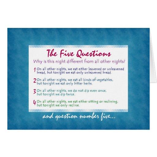 Las cinco cuestiones de Pesach Tarjeta De Felicitación