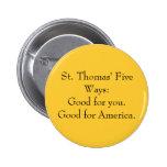 Las cinco maneras de St Thomas: botón Pins