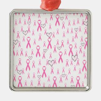 ¡Las cintas rosadas, cuido! _ Adorno Navideño Cuadrado De Metal