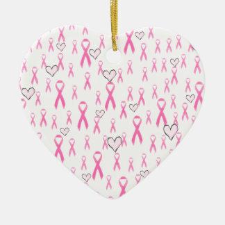 ¡Las cintas rosadas, cuido! _ Adorno Navideño De Cerámica En Forma De Corazón