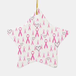 ¡Las cintas rosadas, cuido! _ Adorno Navideño De Cerámica En Forma De Estrella
