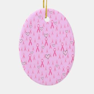 ¡Las cintas rosadas, cuido! _ Adorno Navideño Ovalado De Cerámica