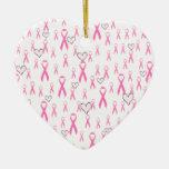 ¡Las cintas rosadas, cuido! _ Adorno De Cerámica En Forma De Corazón