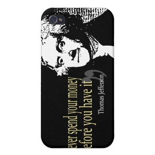 Las citas de Thomas Jefferson nunca pasan el diner iPhone 4 Protector