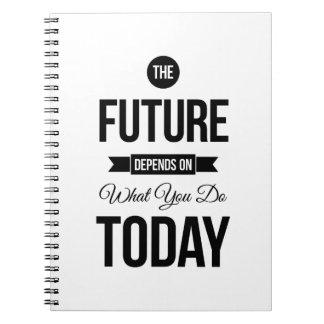 Las citas inspiradas futuras blancas spiral notebooks