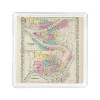 Las ciudades de Pittsburgh Allegheny Cincinnati Bandeja Cuadrada