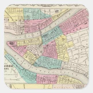 Las ciudades de Pittsburgh Allegheny Cincinnati Pegatina Cuadrada