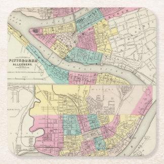 Las ciudades de Pittsburgh Allegheny Cincinnati Posavasos Desechable Cuadrado