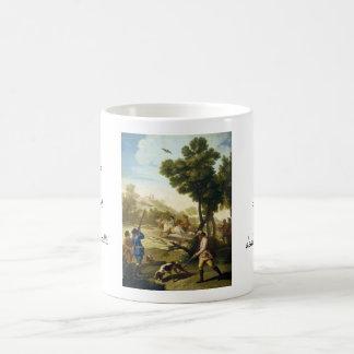 Las codornices que cazan la obra maestra de taza clásica