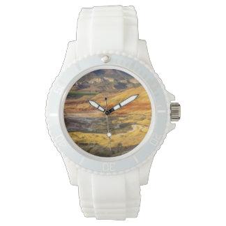 Las colinas pintadas en las camas fósiles 3 del reloj de mano