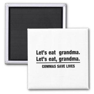 Las comas ahorran a abuelas imán de frigorífico