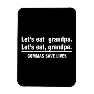 Las comas ahorran a abuelos imanes de vinilo