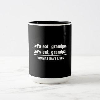 Las comas ahorran a abuelos taza dos tonos