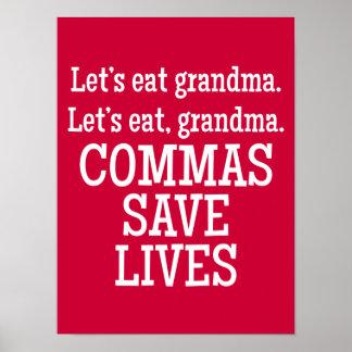 Las comas ahorran las vidas - poster divertido
