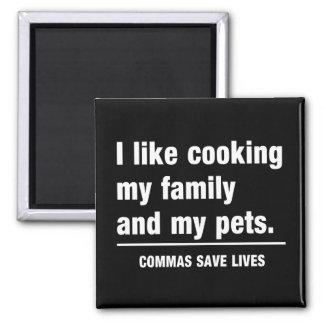 Las comas ahorran vidas imán cuadrado