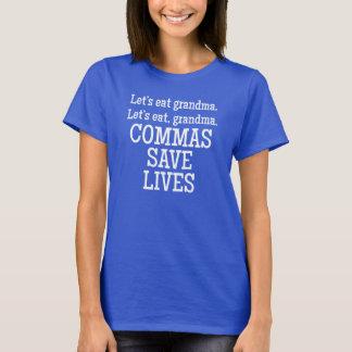 Las comas ahorran vidas playera