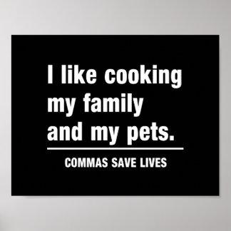 Las comas ahorran vidas póster