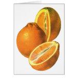 Las comidas del vintage, dan fruto los naranjas tarjeta de felicitación