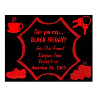 Las compras negras de viernes invitan tarjeta postal