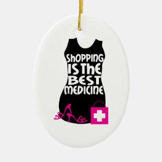 Las compras son la mejor medicina adorno navideño ovalado de cerámica