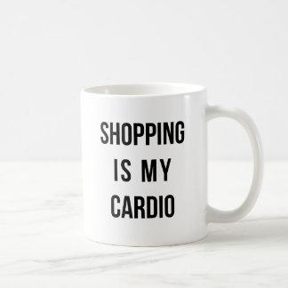 Las compras son mi cardiias en blanco taza