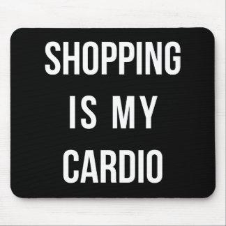 Las compras son mi cardiias en negro mousepad