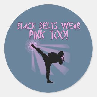 ¡Las correas negras llevan rosa también! Etiqueta Redonda