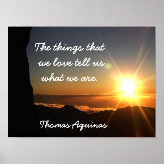 Las cosas amamos - cita de Tomás de Aquino - la Póster