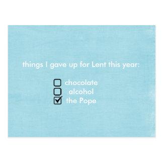 las cosas I dieron para arriba para Lent este año Tarjeta Postal