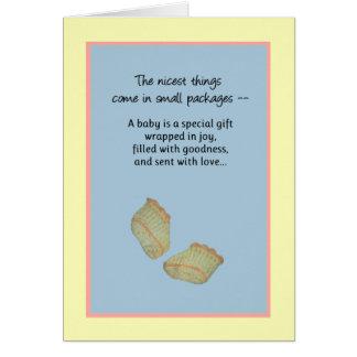 Las cosas más agradables vienen en los pequeños tarjeta de felicitación