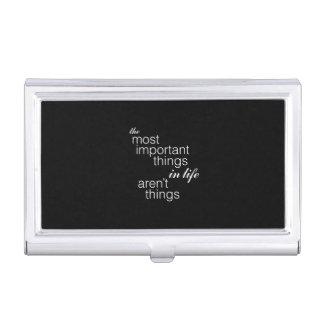 Las cosas más importantes de la vida no son cosas caja de tarjetas de presentación