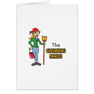 Las criadas de la limpieza tarjeta de felicitación