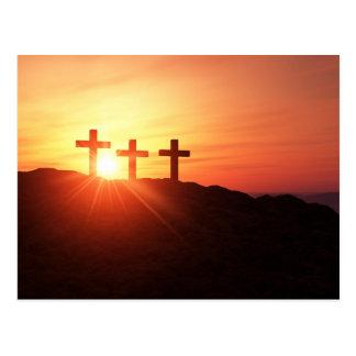 Las cruces en la cumbre 3 a la caída del sol postal