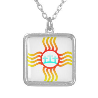 Las Cruces NM Zia Silver Plated Necklace
