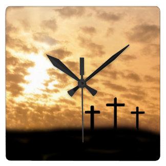 """Las cruces y puesta del sol """"él es"""" reloj de pared"""