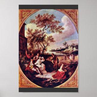 Las cuatro estaciones Óvalo de la primavera de Qu Poster