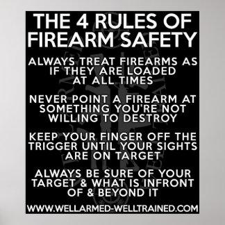 Las cuatro reglas de seguridad del arma de fuego - póster