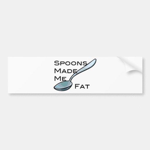 Las cucharas me hicieron la grasa etiqueta de parachoque
