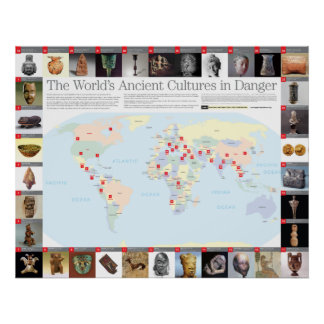 Las culturas antiguas del mundo en mapa del peligr impresiones