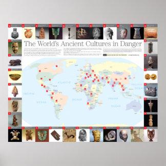 Las culturas antiguas del mundo en mapa del peligr póster