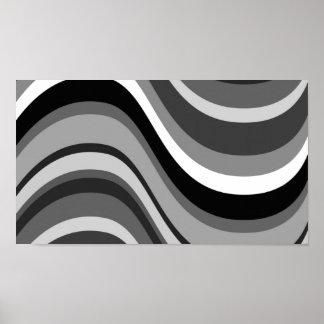 Las curvas modernas retras, ondas ennegrecen gris, impresiones