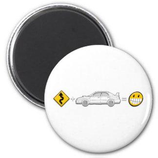 Las curvas, Subaru, igualan la diversión Imán Redondo 5 Cm