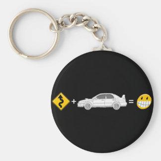Las curvas, Subaru, igualan la diversión Llavero Redondo Tipo Pin